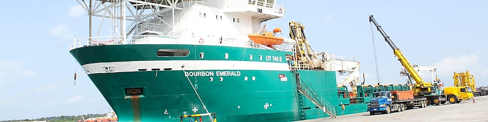 The Bourbon Emerald installs components of Bonga North West underwater infrastructure at depths of up to 1,200 metres below the ocean's surface