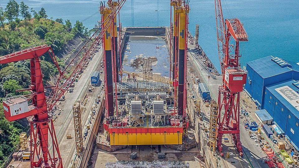 The DCP, under construction at Keppel's Subic Shipyard, has 80-metre legs that are jacked down for self-installation.