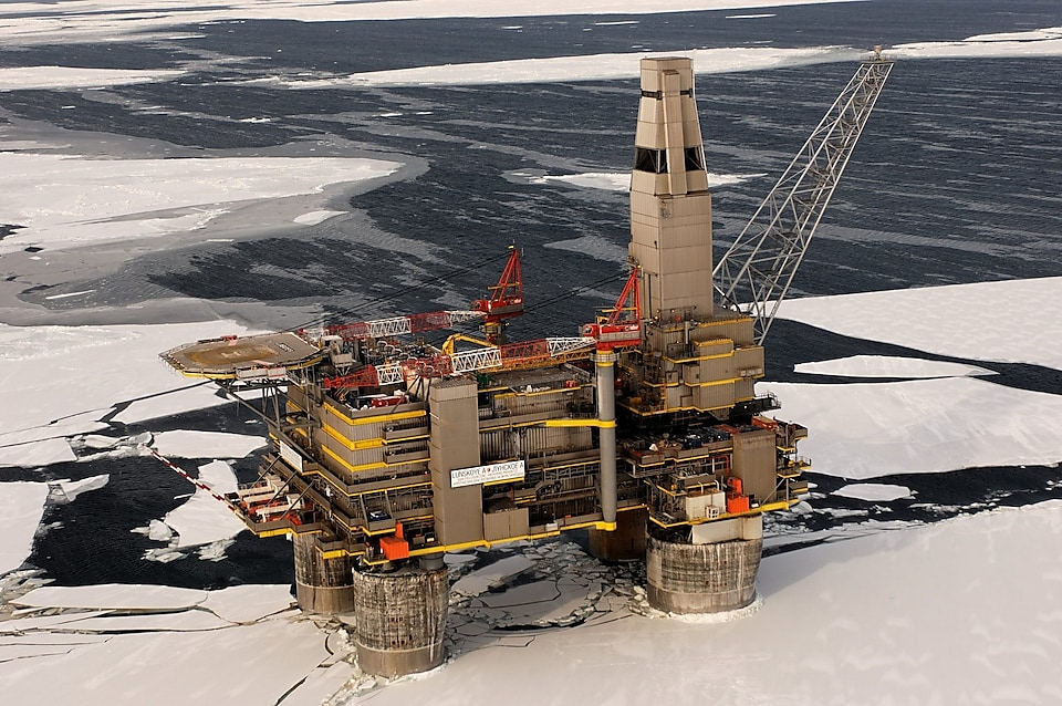 Aerial view of the Sakhalin platform surrounded by icy sea