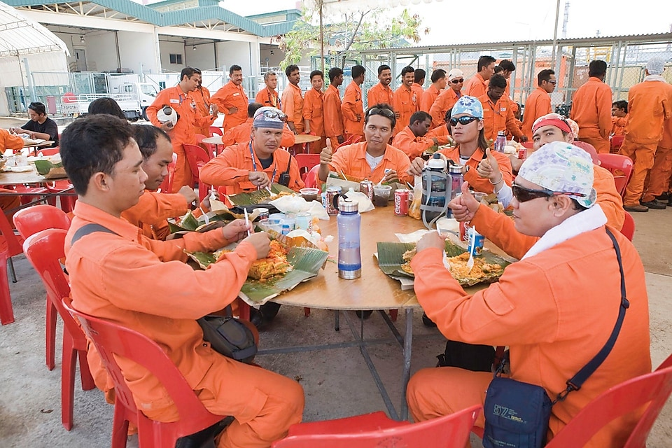 Construction workers on a meal break