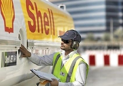 Man inspecting Shell vehicle
