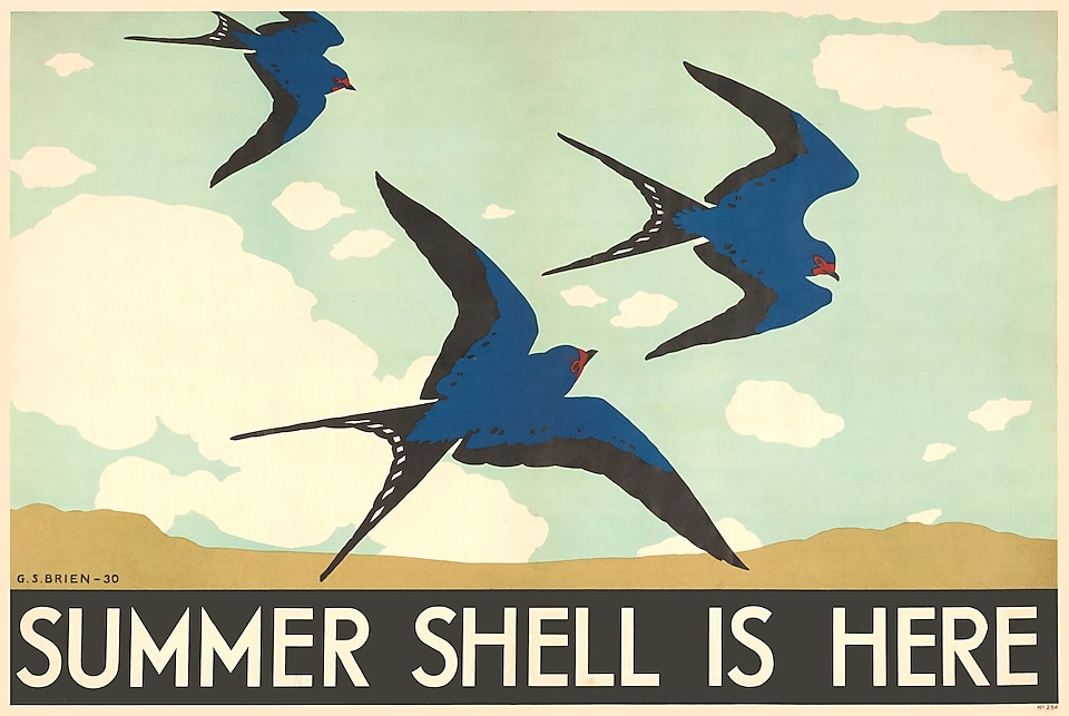 Shell poster advert from the 1930s featuring three birds and the text 'Summer Shell is here'