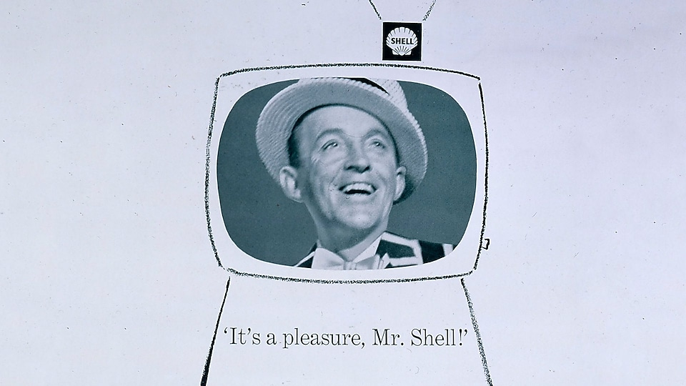 Shell TV advert showing sketched TV and image of Bing Crosby and It's a pleasure Mr. Shell text
