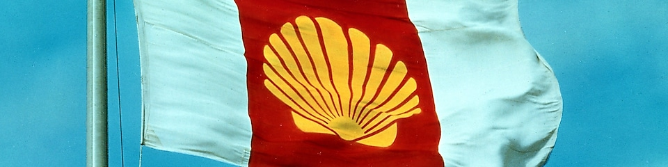 Flag bearing Shell branding