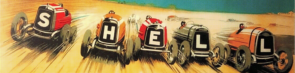 Vintage illustration of racing cars spelling the word Shell