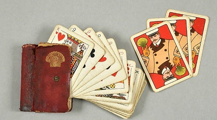 Shell branded playing cards in leather holder