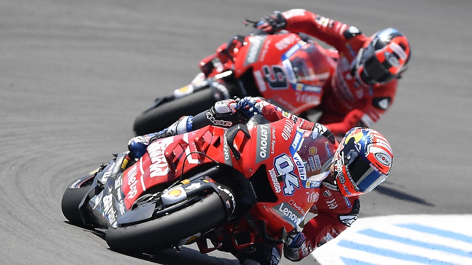 Ducati riders racing near-at-hand in Spain