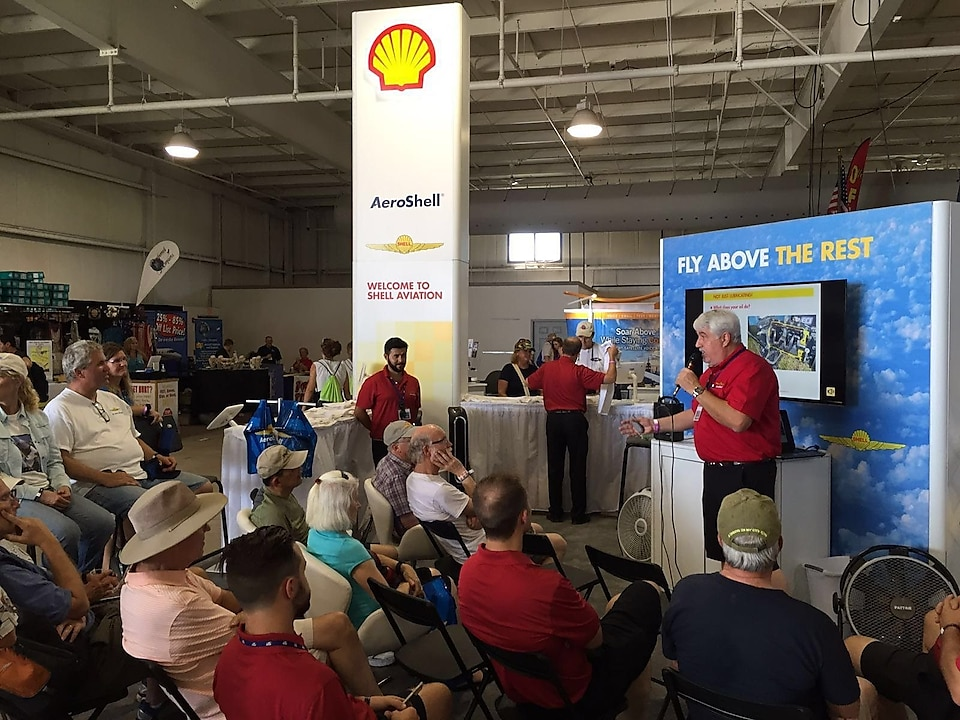Paul Royko hosting the 'Ask the Answer Man' session at the AeroSHell Booth