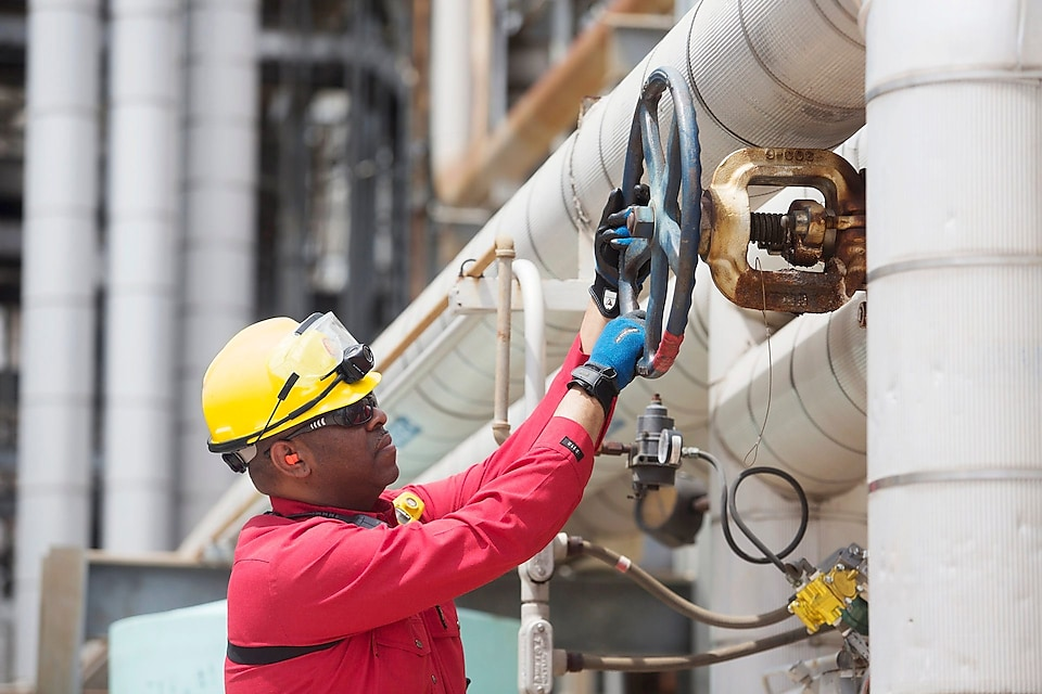 Shell worker turns valve while facilitating dioxin removal.