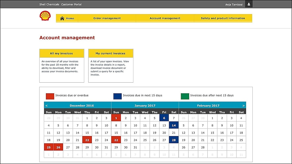 Shell chems customer portal account management