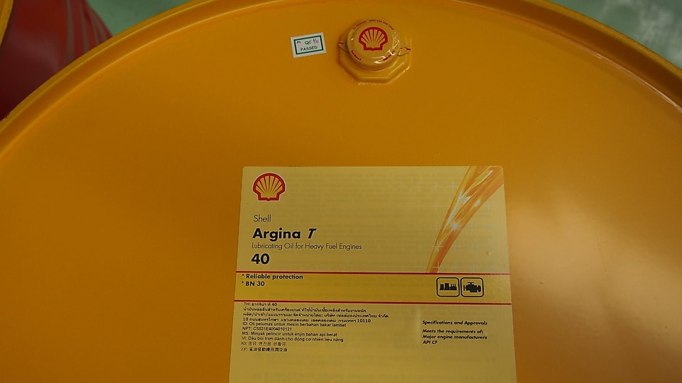 Argina T40- Shell is now producing marine engine oils like Shell Argina from its Marunda lubricant plant in Indonesia