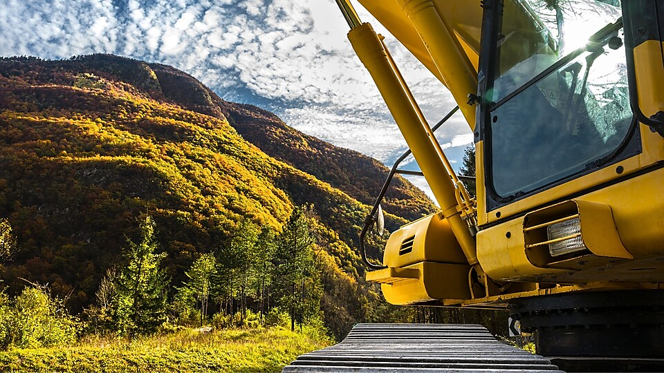 Construction equipment and hillside