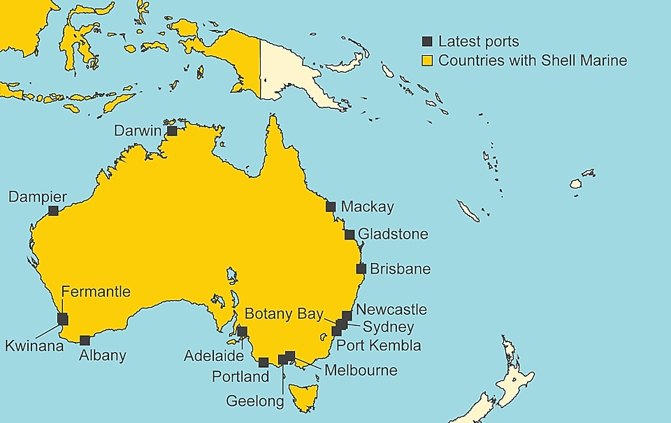 Map showing latest Shell Marine ports in Australia. Those ports are: Adelaide, Albany, Botany Bay, Brisbane, Dampier, Darwin, Fremantle, Geelong, Gladstone, Kwinana, Mackay, Melbourne, Newcastle, Port Kembla, Portland, Sydney.