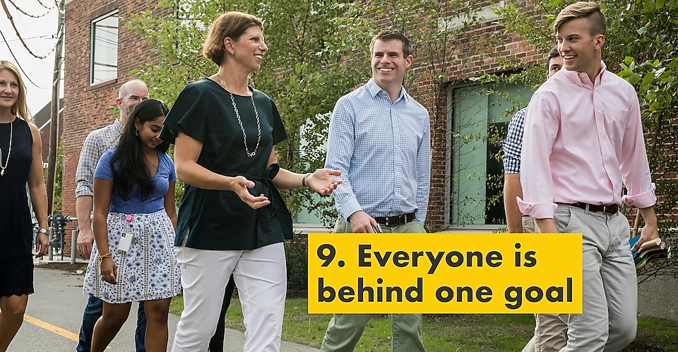 Reason number nine – everyone is behind one goal. Julie Ferland and Shell TechWorks team members enjoying a conversation outdoors.