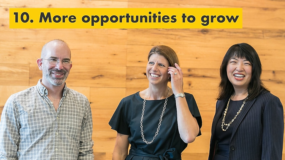 Reason number ten – more opportunities to grow. Julie Ferland and two other Shell TechWorks team members.