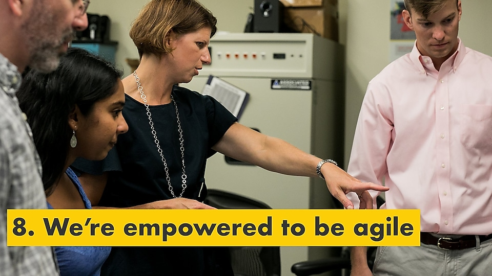 Reason number eight – we're empowered to be agile. Julie Ferland instructing Shell TechWorks team members.