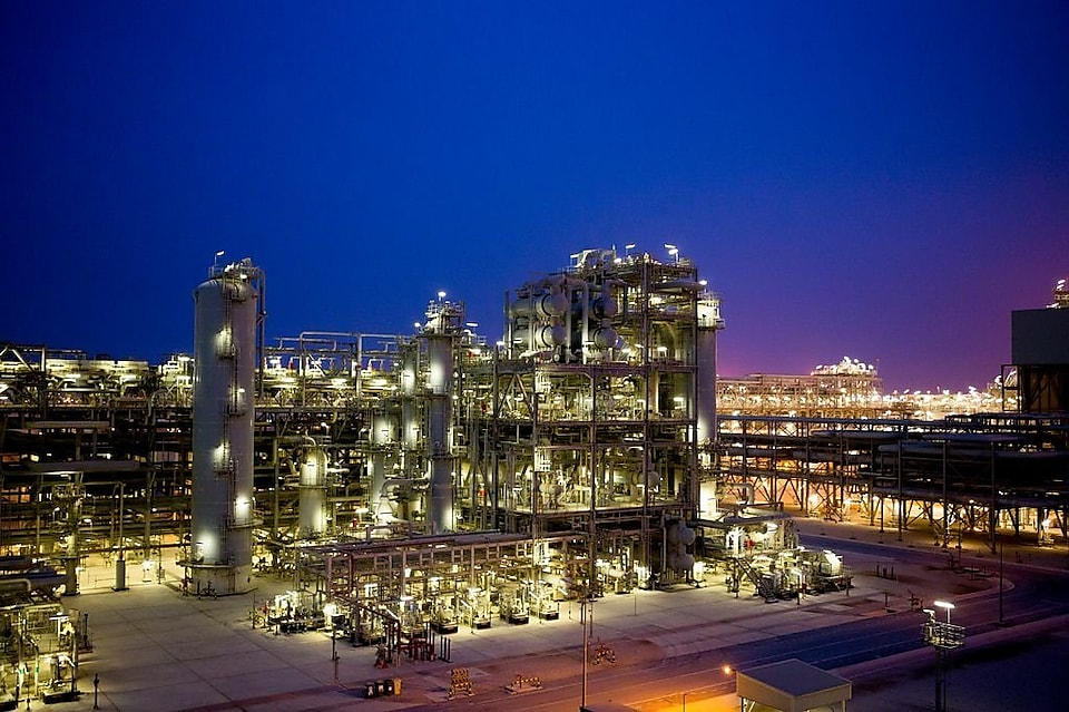 A Shell refinery at night.
