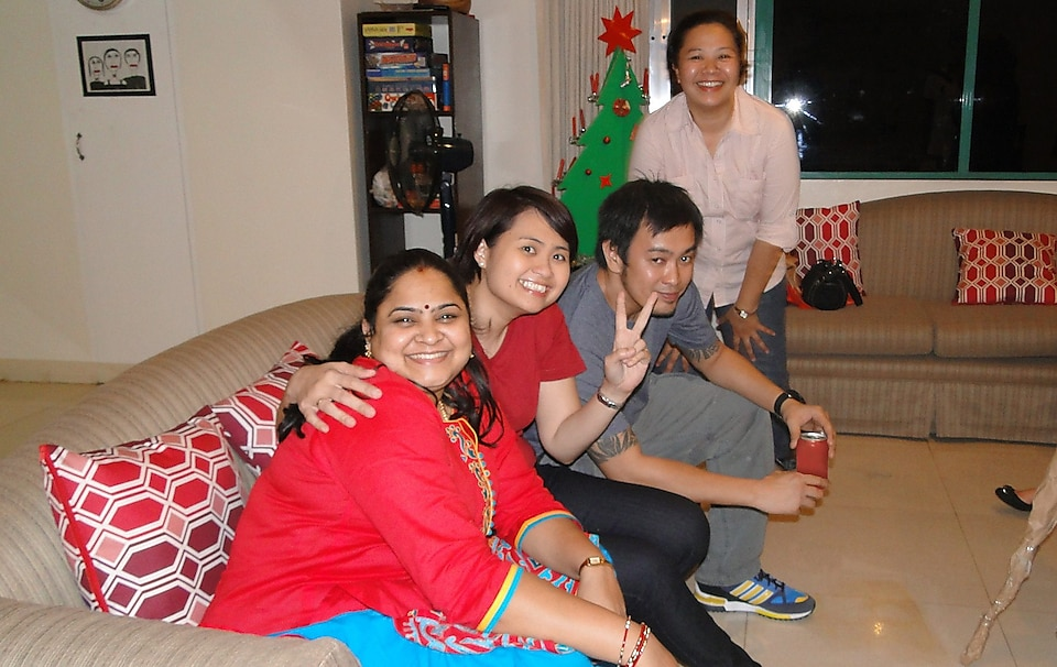 Subapriya Guruprasad at a Christmas party in Manila