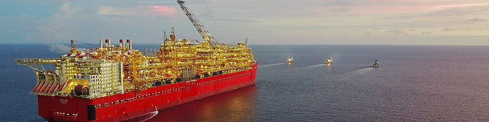 Prelude FLNG ship in Sea