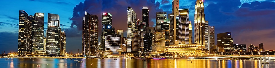 Central Business District in Singapore at Dusk.