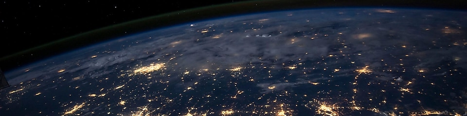 Aerial view of the earth showing city lights City lights of the Southern United States.