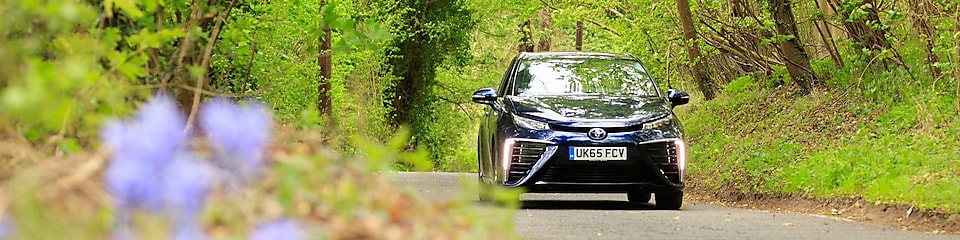 Hydrogen car drives in forest