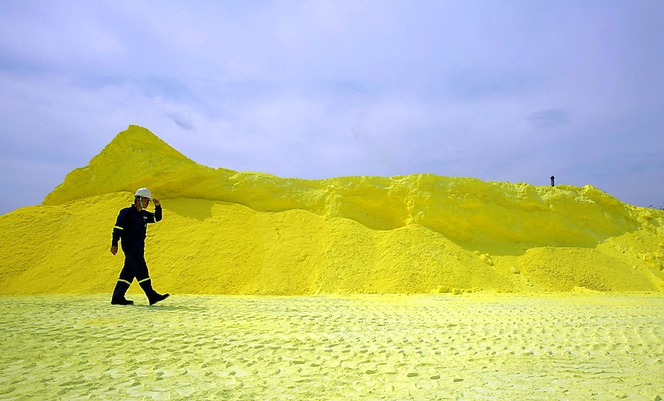 Sulphur, a by-product of oil and gas processing, creates stockpiles that are sold to industry for manufacturing and farming