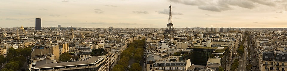 Paris skyline and the Eiffel Tower on a cloudy day