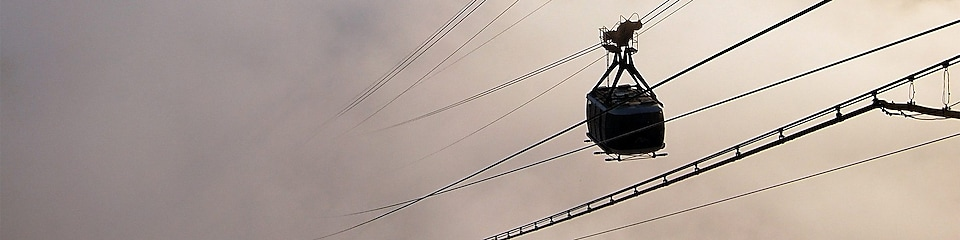 Cable car in clouds over Brazil