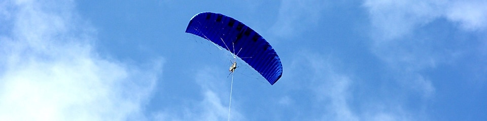 Blue kite flying in the sky