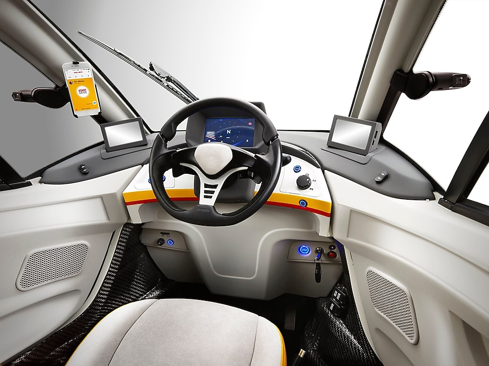 An inside view of the Shell concept car, looking towards the dashboard.