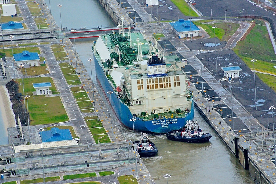 Apollonia passes through the Panama Canal's locks on its way to Asia