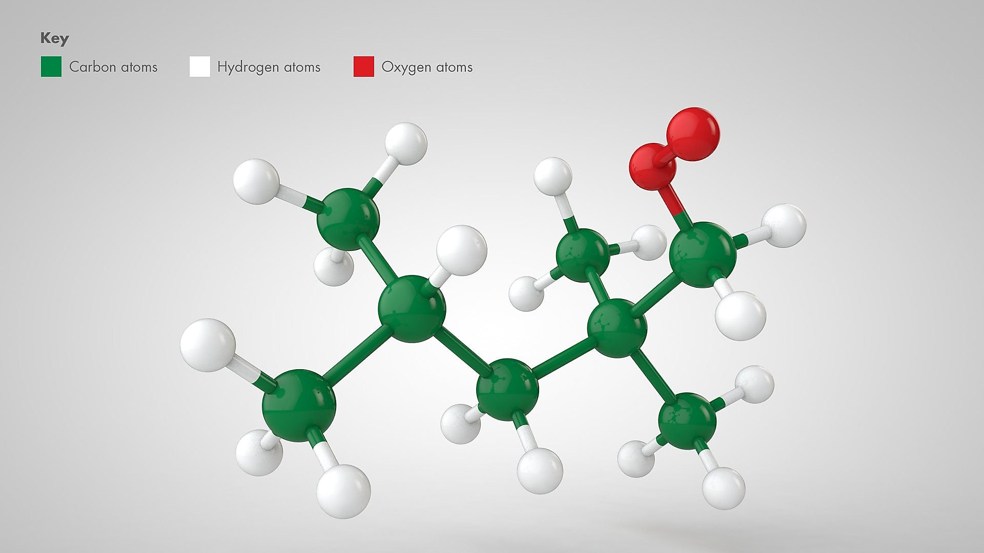 Image shows a computer model of iso-octane, a key molecule used in fuel, and test its reaction in different virtual environments (Carbon atoms, green; Hydrogen atoms (white), Oxygen (red)