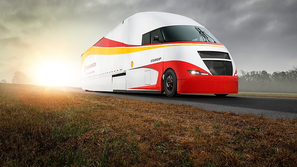 Starship truck on the road