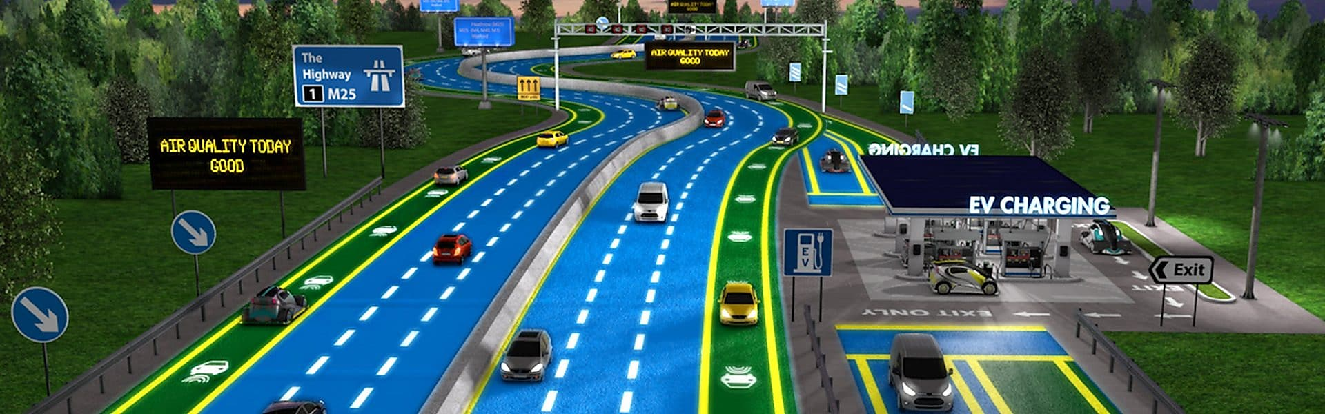 Graphic depiction of the roads of the future