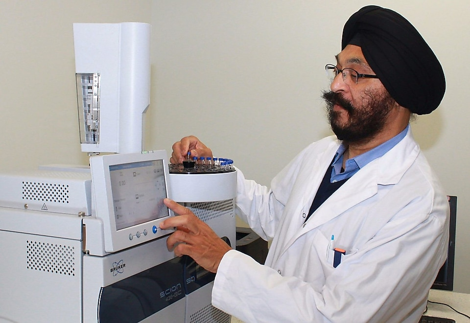 Inder Singh in a SBI laboratory