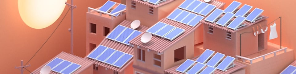 Illustration of houses with solar panels