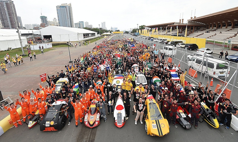 Group portrait of all students during Day One of the Shell Eco-marathon Asia, in Manila, Philippines, Thursday, March 3, 2016.