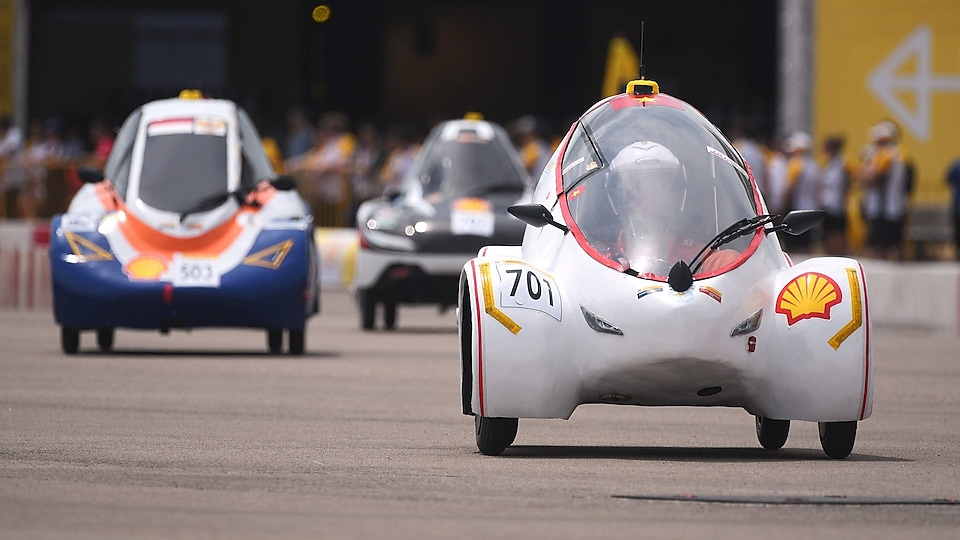 Team #701 from Lac Hong University, Vietnam in their battery-electric car