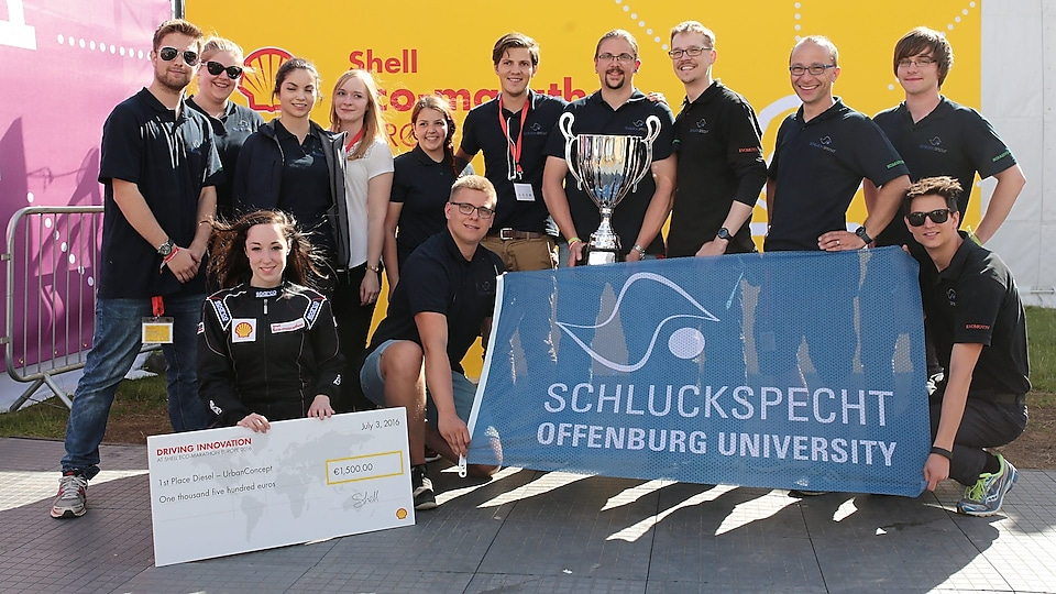 1st place winners in the diesel UrbanConcept field, team Schluckspecht from the University Of Applied Sciences Offenburg, Germany, celebrate their win during Make the Future London 2016 at the Queen Elizabeth Olympic Park, Saturday, July 2, 2016 in London, UK.