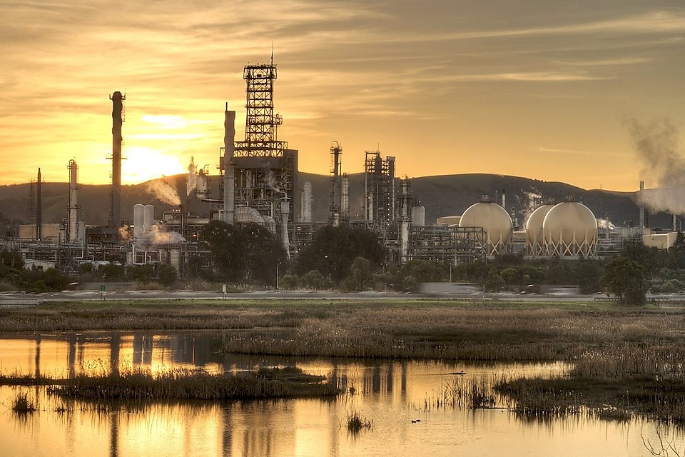 Shell Martinez Refinery at dusk