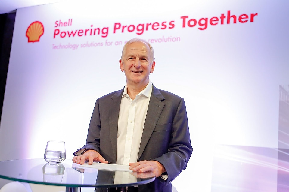 John Abbott at the opening of Powering Progress Together in London