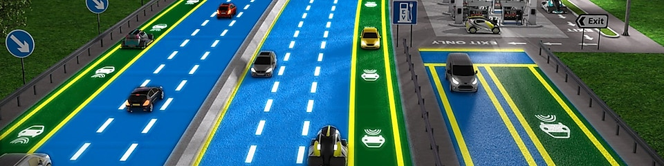 Blue colour Highway with running vehicles
