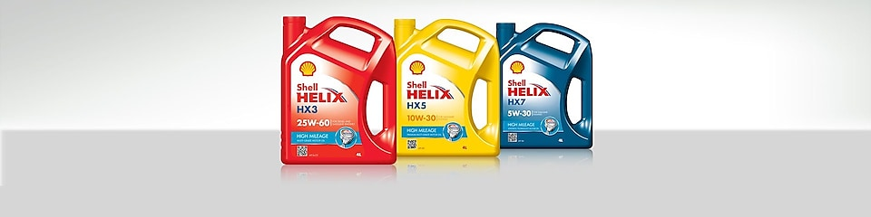 Shell Helix High Mileage oil range