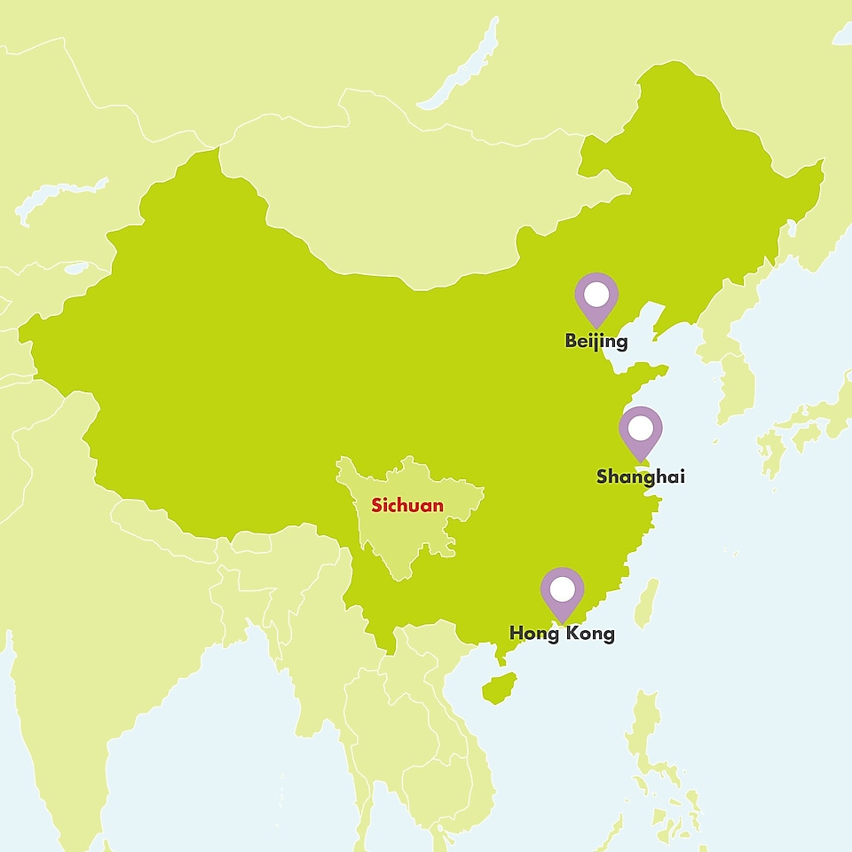 A map displaying the Sichuan province and its position in China with Hong Kong, Beijing and Shanghai also displayed