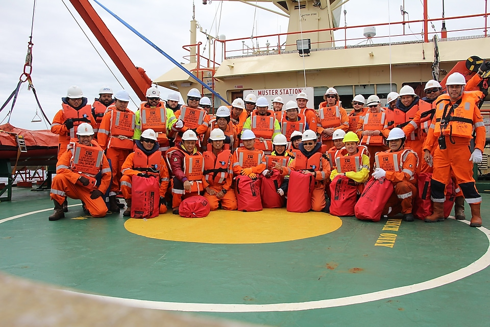 Crew on the Fugro service vessel