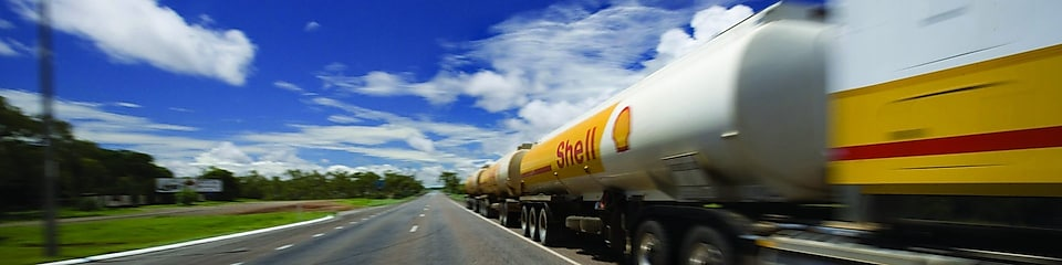 Shell tanker on the road